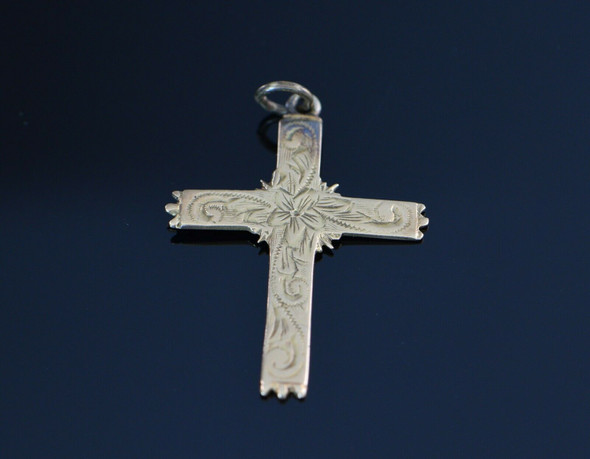 Vintage 14K Yellow Gold Hand engraved Cross, Circa 1900