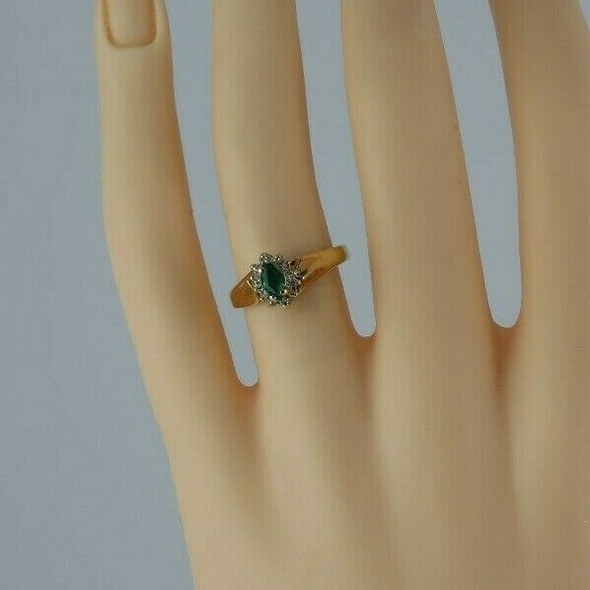 10K Yellow Gold Synthetic Emerald Diamond Halo Ring Size 6.5