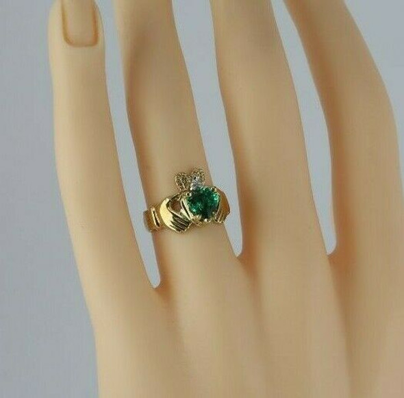 10K Yellow Gold Claddagh Green Cubic Zirconia Ring Size 5.75
