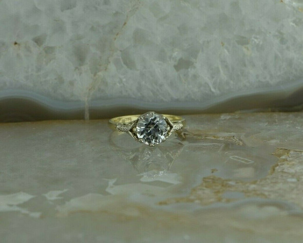 Vintage 14K Yellow and White Gold Crystal Ring Size 7.5
