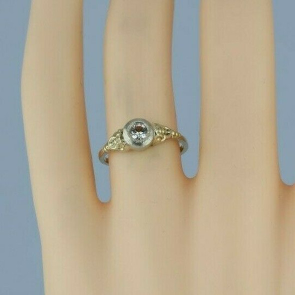 14K Yellow and White Gold European Art Deco Crystal Ring Size 6.25 Circa 1930