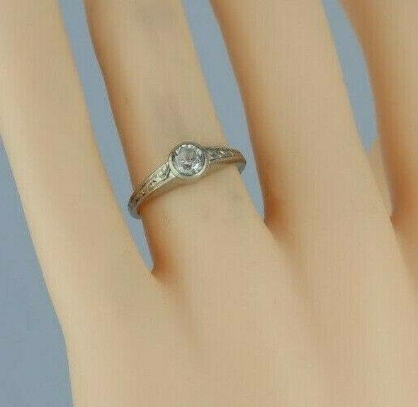 14K White and Yellow Gold European Crystal Deco Ring Size 7.25 Circa 1930