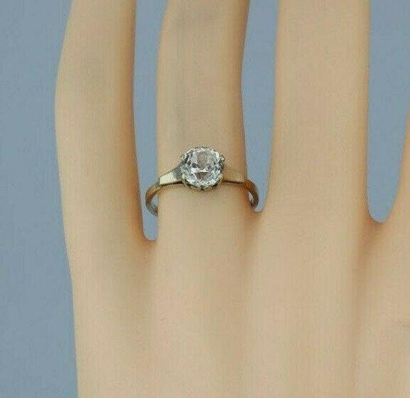 14K White Gold Crystal Solitaire European Art Deco Ring Size 7 Circa 1930