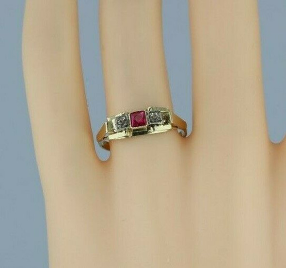 14K Yellow and White Gold European Art Deco Ruby Spinel and Crystal Ring Size 8.