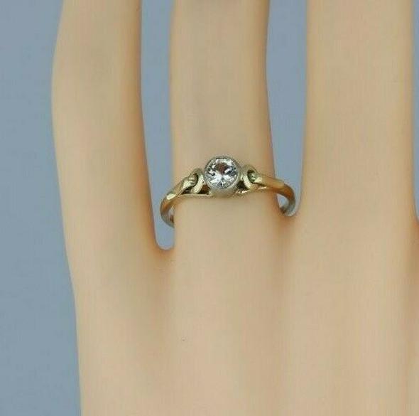 Vintage 14K Yellow and White Gold European Art Deco Crystal Ring Size 7.5 Circa