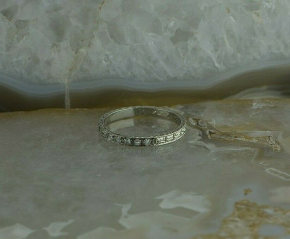 Vintage 18K White Gold Diamond Band Art Deco Style Size 5.5