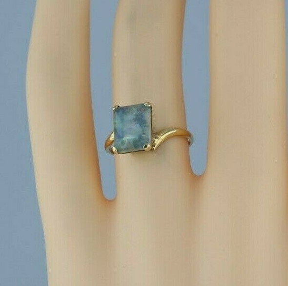 10K Yellow Gold Opal Triplet Ring Bypass Setting Size 5.5 Circa 1970