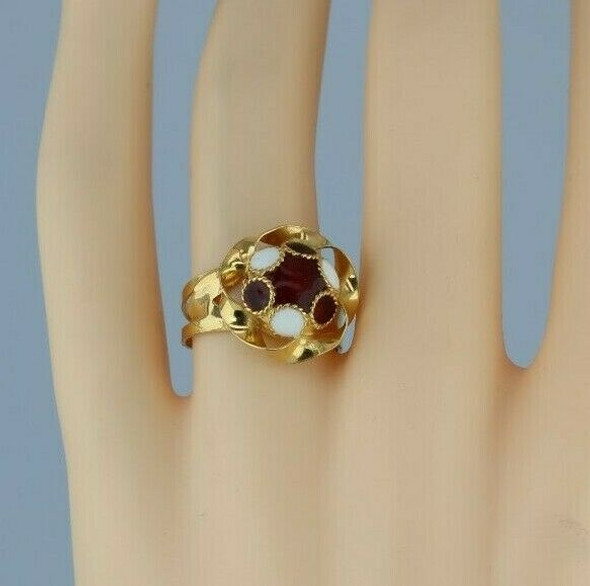 18K Yellow Gold Red and White Enamelled Dome Ring Size 7.25 Circa 1970