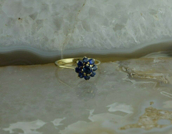 Vintage 14K Yellow Gold Blue Stone Rosette Ring Size 7 Circa 1940