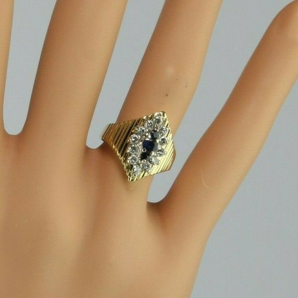 14K Yellow Gold 1 Ct Sapphire and Diamond Halo Ring Size 4.5 Circa 1970