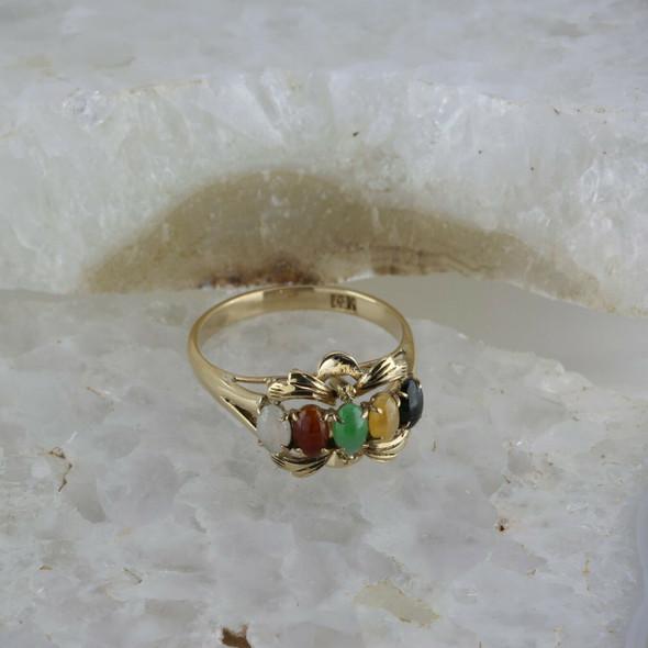 Vintage 14K Yellow Gold Jade Sampler Ring Size 8.5 Circa 1960