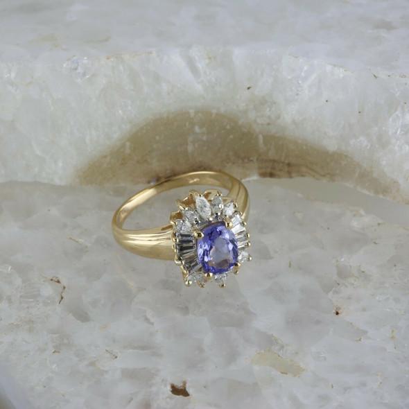 14K Yellow Gold Tanzanite and Diamond Halo Ring Size 6.5, Circa 1980