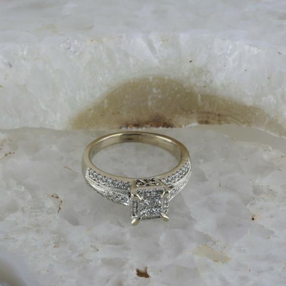 14K White Gold Diamond Princess Checkerboard Ring Size 8.5, Circa 1990