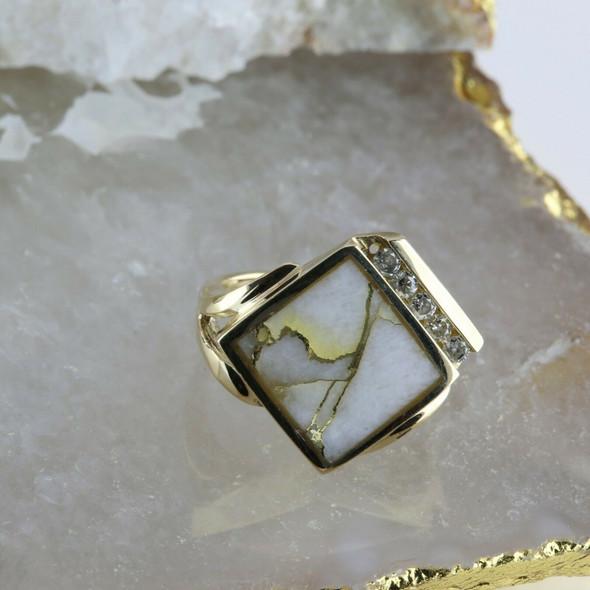 14K Yellow Gold Quartz and Diamond Ring Size 6.75 Circa 1970