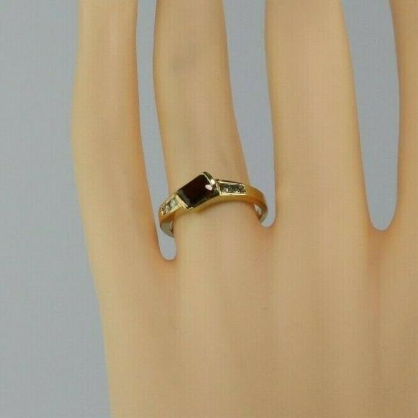 14K Yellow Gold Garnet and Diamond Ring Size 6.75 Circa 1970