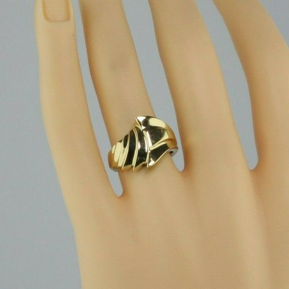 10K Yellow Gold Abstract Deco Style Ring Size 6.75 Circa 1970