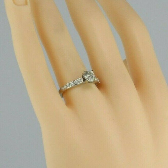 14K White Gold Diamond Engagement Ring 0.70 Ct Center Stone Size 7 Circa 1990