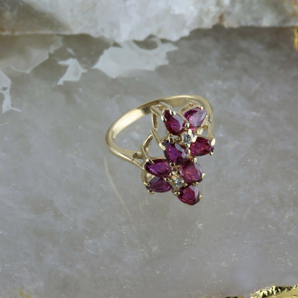 Vintage 14K YG 3 Ct TW Ruby and Diamond Cocktail Ring, Size 9, Circa 1960