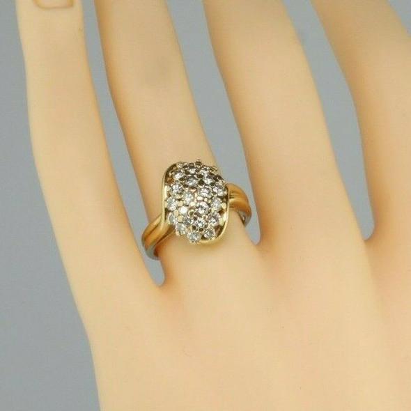 Vintage 14K Yellow Gold 1.5 Ct TW Diamond Cluster Ring GVS Size 7 Circa 1960