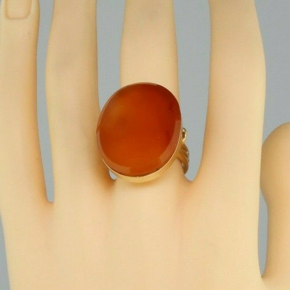 10K Yellow Gold Carnelian Ring Bezel Set Size 7.75 Circa 1970