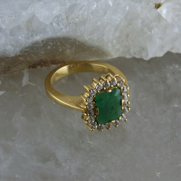 18K Yellow Gold Emerald and Cubic Zirconia Halo Ring Size 5.5 Circa 1970