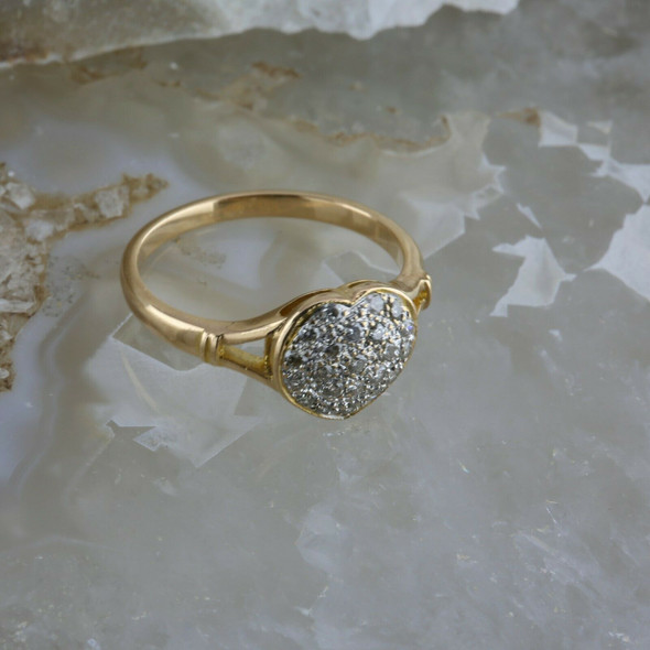 14K YG Diamond Pave Heart Ring 0.25 Ct TW Size 6.25 Circa 1980