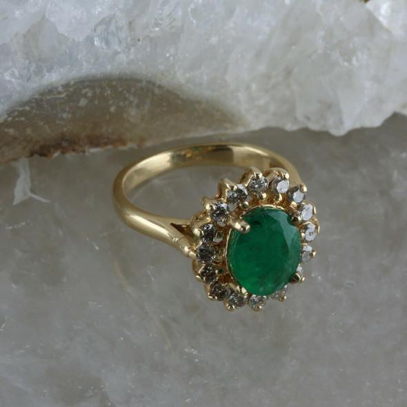Vintage 14K YG Oval 1.53 Ct Emerald and Diamond Halo Ring Size 4.75 Circa 1960