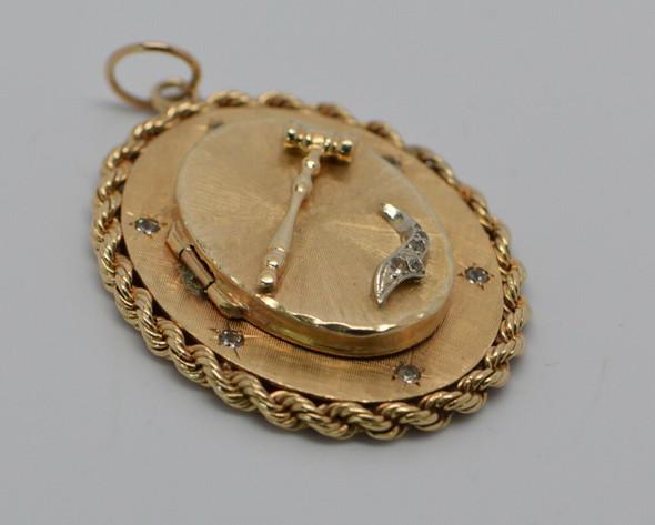 14K Yellow Gold Diamond Set Locket with Gavel Decoration, Circa 1950