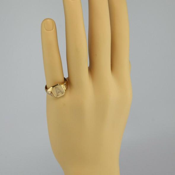 """Men's Antique 10K Rose Gold """"A"""" Monogram Signet Ring, Ring Size 10.25, Circa1930"""