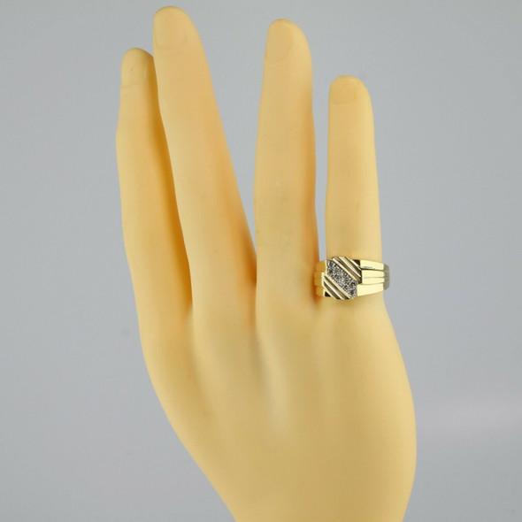 Men's Vintage 10K Yellow Gold Diamond Ring, 1/3 ct tw Ring Size 10, Circa 1950