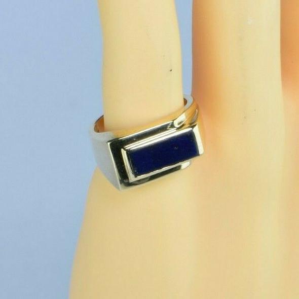 14K Yellow Gold Art Deco Style Lapis Lazuli Tile Ring Size 9 Circa 1970