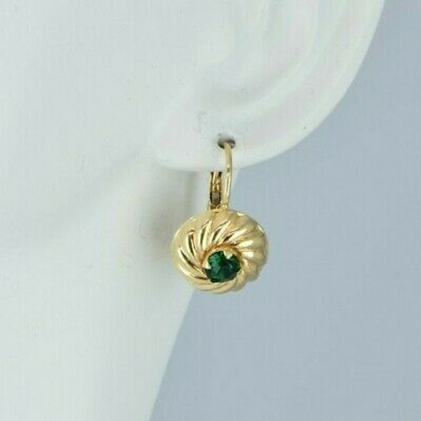 Vintage Italian 14K Yellow Gold Emerald Green Spinel French Clips Circa 1960