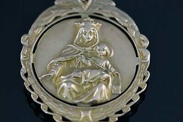 10K Yellow Gold Large Vintage Jesus and Madonna Pendant, Circa 1960
