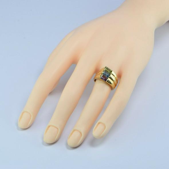 14K YG Multicolor Stone Ring Peridot Topaz Amethyst Size 5 7/8 Circa 1970
