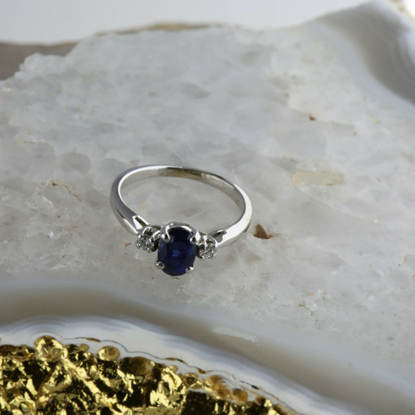 14K White Gold 1ct tw Sapphire and Diamond Accent Ring Size 5 Circa 1970