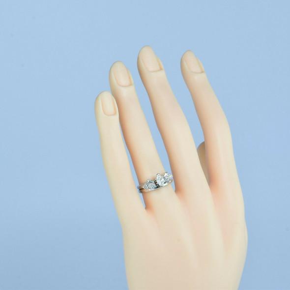 14K White Gold 2 Piece Diamond Engagement Ring Size 5.75 Circa 1980