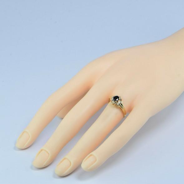 14K Yellow Gold 1ct tw Sapphire and Diamond Halo Ring Size 6.75 Circa 1970