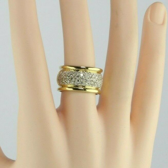 14K Super YG 2ct + Pave Set Wide Band Top Pave in Cushion Shaped Panel Size 8.25