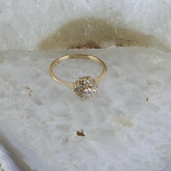 Vintage 14K YG 1/2 ct tw Diamond Rosette Ring, H SI, Circa 1960
