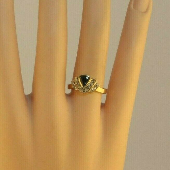 14K YG 3/4ct tw Blue Sapphire Pear and Diamond Ring Bezel Set Chevron Circa 1980