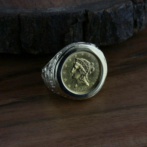 1852 $2 1/2 Gold Coin set in Men's 14K YG Ring, Size 9.5