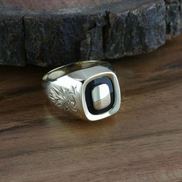Men's Vintage 14K YG Black Onyx Signet Ring, Size 10, Circa 1950