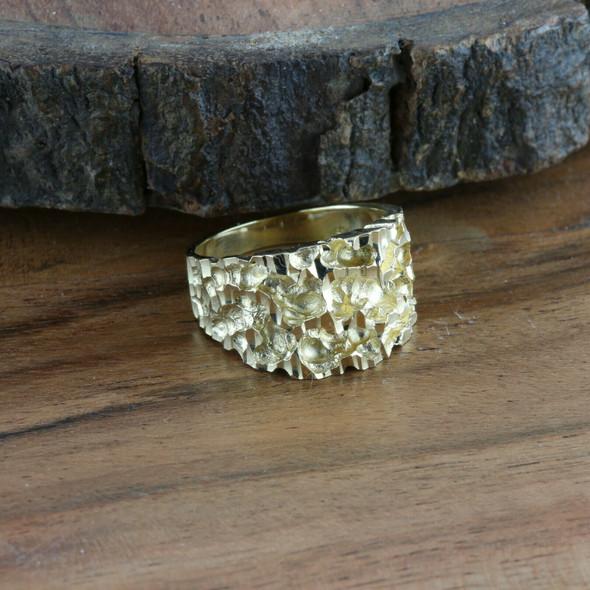 Men's 14K YG Brutalist Ring, Tapered Ring Shank, Ring Size 8.25