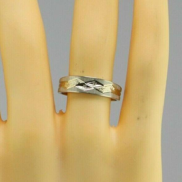 Men's Vintage 14K WG Diamond Band 2 Small Diamond Shaped Panels, Ring Size 11.25