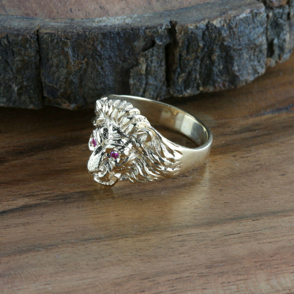 Men's 14K YG Male Lions Head Ring, Diamond Mouth, Ruby Eyes, Ring Size 10.25