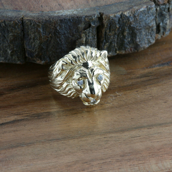 Men's 14K YG Male Lions Head Ring, Diamond Eyes and Mouth, Ring Size 7.5