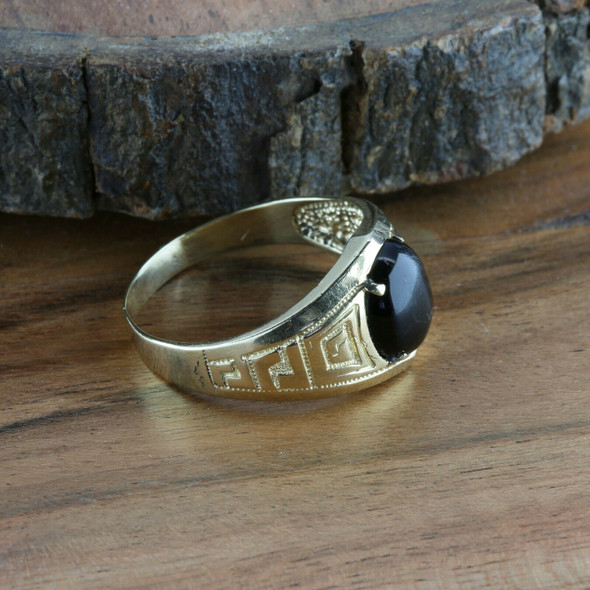 Men's Vintage 14K Yellow Gold Black Onyx Cabochon Ring, Ring Size 15, Circa 1960