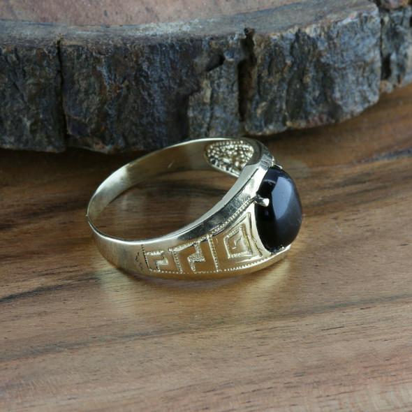Men's Vintage 14K Yellow Gold Black Onyx Cabochon Ring, Ring Size 15, Circa 1960