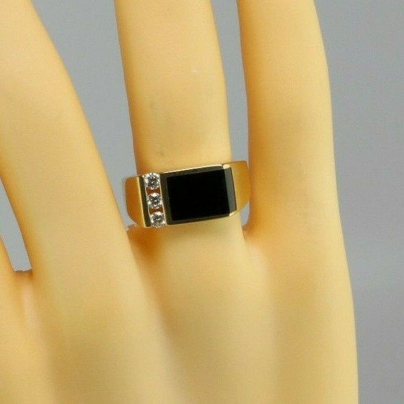 Men's Vintage 14K Yellow Gold Black Onyx and Diamond Ring, Ring Size 11