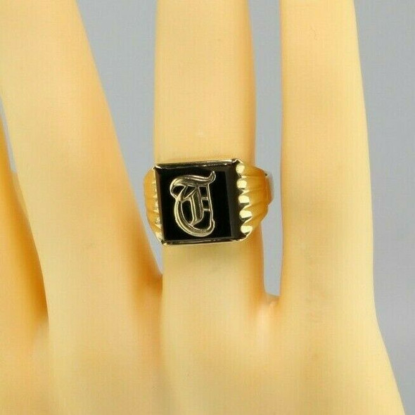 "Men's Vintage 10K Yellow Gold Black Onyx ""T"" Initial Ring, Ring Size 9.75"